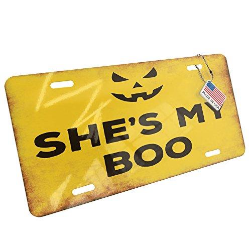 NEONBLOND Metal License Plate She's My Boo Halloween Jack-O'-Lantern