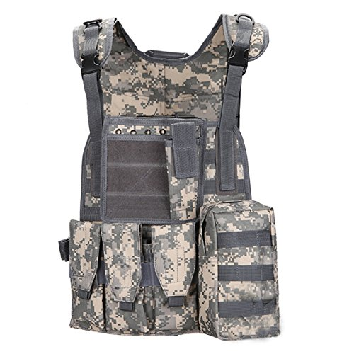 Linkin Sport Tactical Vest Chest Rig Molle Vest Breathable and Lightweight (Digital Camo)