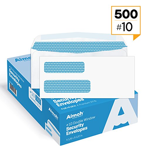 500#10 Double Window Security Business Mailing Envelopes - for Invoices, Statements and Legal Documents - GUMMED Closure, Security Tinted - Size 4-1/8 x 9-1/2 - White - 24 LB - 500 Count (30101)