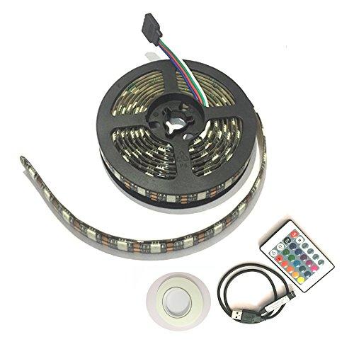 Chiyou Led Strip Lights, 6.6ft for RGB Bias Lighting for 40-60 inch HDTV, USB Powered Led Light Strip with Remote, USB Led TV Backlight Kit, 16 Color 5050 Led Bias Light (2m 6.6ft)