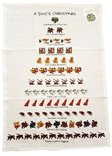 Twelve Days Of Dog Lovers Christmas Flour Sack Kitchen Dish Towel - 18