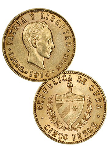 1915 CU 5 Pesos Piece About - Coin 5 Piece Uncirculated