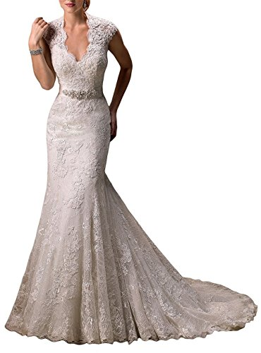 Lily Wedding Womens Lace Mermaid Wedding Dresses For Bride 2018 Bridal Gowns With Beaded Sash Belt FWD00102 Size 12 White