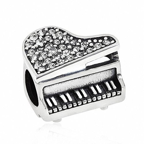 - Music Piano Charms 925 Sterling Silver Birthstone Crystal Charm for European Bracelet (Clear April)