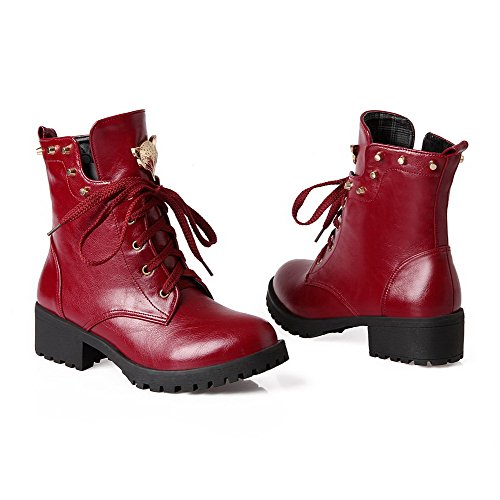 Lace up Heels Low Red PU top Women's Solid AmoonyFashion Boots Low 6FWnpPyUy