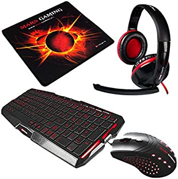 Tacens Mars Gaming - Teclado (Kit para Gaming Teclado, Auriculares, ratón y Alfombrilla), Color Negro y Rojo