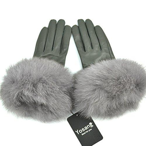 (Yosang Women Genuine Lambskin Leather Winter Gloves with Fox Fur Trim Grey Medium)