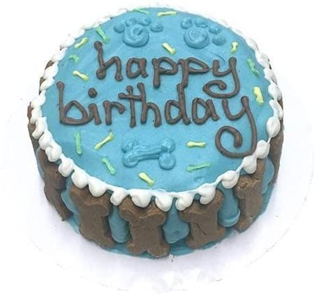 Amazing Amazon Com Bubba Rose Happy Birthday Dog Cake Blue Pet Supplies Personalised Birthday Cards Veneteletsinfo