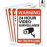 Video Surveillance Sign Outdoor | No Trespassing Glow-in-The-Dark Large Warning Sign | 12''x12'' Aluminum | Indoor Outdoor | Home Business CCTV Security Camera | Waterproof UV Protected | Red | 4 Pack