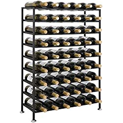 Smartxchoices 54 Bottle Black Steel Wine Rack Free Standing Floor 9-Tier Wine Storage Rack Display Shelves Liquor Cabinet