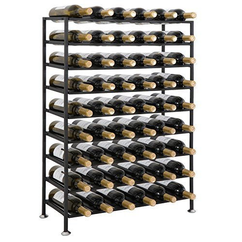 Smartxchoices 54 Bottle Black Steel Wine Rack Free Standing Floor 9-Tier Wine Storage Rack Display Shelves Liquor Cabinet