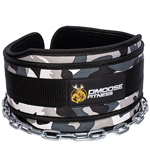 DMoose Fitness Premium Dip Belt Chain  36 Heavy Duty Steel Chain, Comfort Fit Neoprene, Double Stitching  Maximize Your Weightlifting & Bodybuilding Workouts