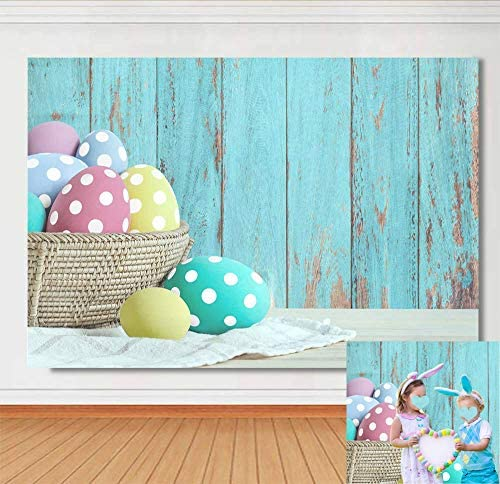 Easter Spring Photography Backdrops Blue Wood Easter Photo Background Baby Newborn Children Easter Party Decoration Studio Props Banner 5x3ft