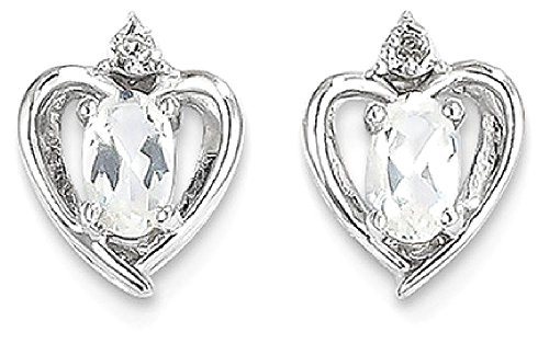 ICE CARATS 14k White Gold Topaz Diamond Post Stud Ball Button Earrings Set Birthstone Style Fine Jewelry Gift Set For Women Heart by ICE CARATS