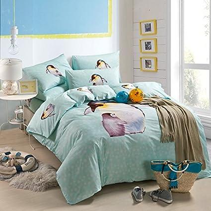 teen duvet cover. Penguin Blue Bedding Duvet Cover Set Cartoon Kids Girls Teen Gift Idea