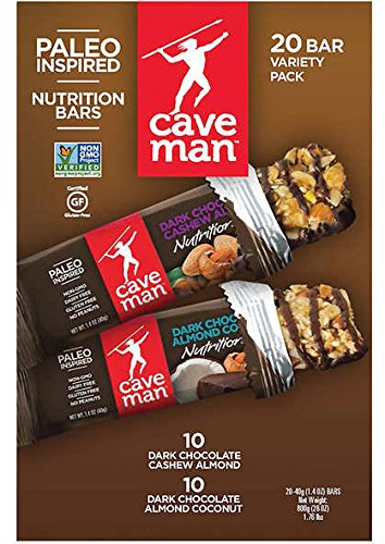 Caveman Variety Pack Bars Non-GMO, Gluten Free1.4ozx20, total 17.5Lb