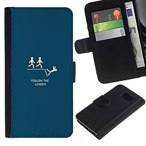 All Phone Most Case / Oferta Especial Cáscara Funda de cuero Monedero Cubierta de proteccion Caso / Wallet Case for Samsung Galaxy S6 // Follow The Leader - Funny Lemming