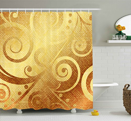 Modern Decor Shower Curtain by Ambesonne, Vector Gold Canvas Design Floral Swirls Leaves Decorative Image, Fabric Bathroom Decor Set with Hooks, 70 Inches, Earth Yellow and Gold