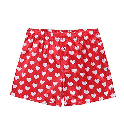 - ACSUSS Men's Frilly Satin Boxers Shorts Silk Summer Lounge Halloween Underwear Heart Print Red X-Large