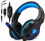 Xbox One, PS4 Gaming Headset , Headphones with Mic and LED Light for Laptop Computer,Stereo Gamer Headphones,3.5mm Wired Noise Isolation Gaming Headphones (Blue)