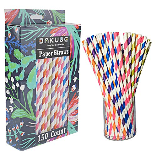 Bakuwe Biodegradable Paper Straws with Bright Rainbow Color for Drinking, Birthday,Party Supplies Decorations,-150 -