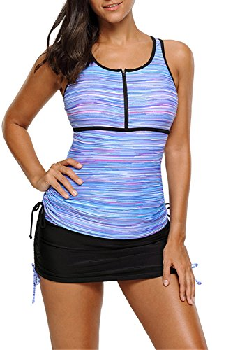 Chase Secret Womens Print Two Piece Swimsuit Color Block Print Tankini Top With Skirted Bikini Bottom X-Large - Sporty Swimsuit Bikini