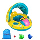 Kemuse Inflatable Baby Pool Float Swimming Ring with Sun Canopy for the Age