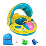 Kemuse Inflatable Baby Toddler Pool Float Swimming Ring with Sun Canopy for the Age 6-48 Months with Bath Toys / Storage Bag