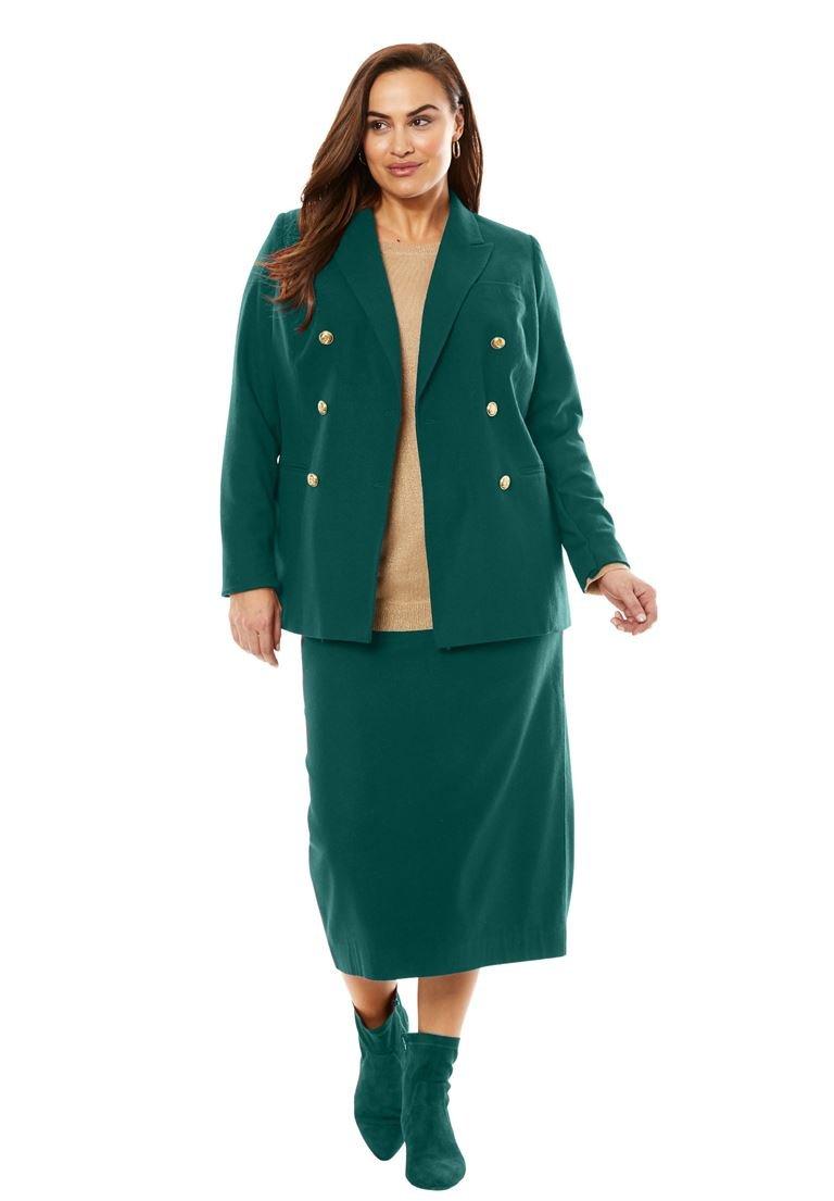 Jessica London Women's Plus Size Double Breasted Wool Blazer Emerald Green,16