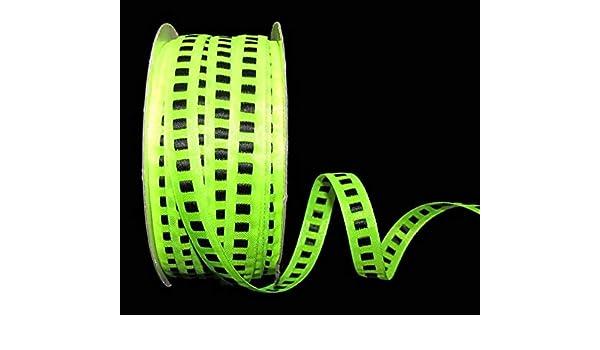 "5 Yards SALE Neon Green Black Woven Stitch Gatsby Ribbon 3//8/""W"