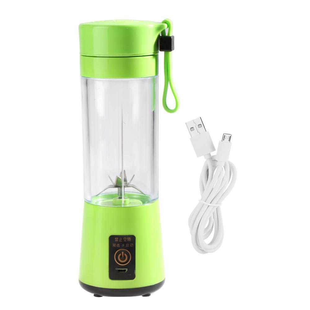 Juice Extractor Mini Portable USB Rechargeable Glass Juicer Milkshake Fruit Blender Gift Home Accessory Traveling 400ML(Green)