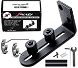 FLORADIS Large Stay Roller Floor Guide for Bottom of Sliding BARN Doors/Lay-Flat System - Sits Flush to Floor/Ultra Smooth Fully Adjustable Wall Mount Stop Guides/Ball Bearings Wheels Technology