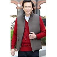 Men's Gilet, Autumn Winter Middle Aged Men's Vest Men's Down Jacket Warm Thick Cotton Vests Jacket Male 5XL Sleeveless Waist Coat (Color: Black, Size: XL)