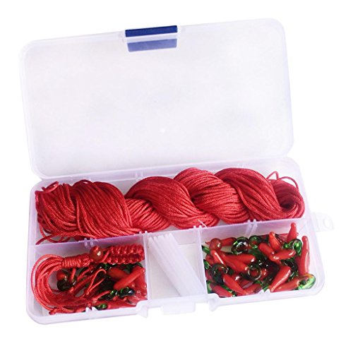 (Baoblaze 1 Box Glass Chili Red Pepper Charms Pendant with Beads Jaded Lines for Hand Knitting Key Chains Key Rings Charms Findings DIY Bag Accessories - #2)