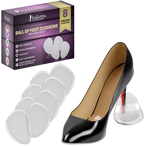 (Ballotte Ball of Foot Cushions for High Heels - Shoe Inserts for Women - Heel Inserts - Ball of Foot Pads (4 Pairs Clear))