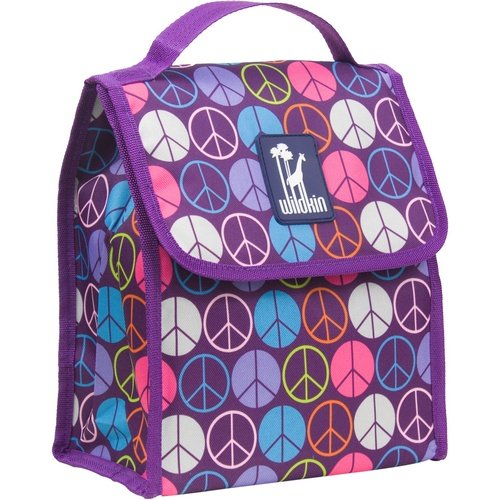 Lunch Bag, Wildkin Lunch Bag, Insulated, Moisture Resistant, Easy to Clean and Folds Flat Making Storage That Much Easier, Ages 3+, Perfect for Kids or On-The-Go Parents – Peace Signs Purple