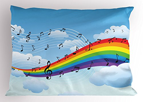 Ambesonne Music Decor Pillow Sham by, Rainbow with Music Notes Cloudscape Cartoon Fun Artwork Symphony Sky, Decorative Standard Size Printed Pillowcase, 26 X 20 Inches, ()