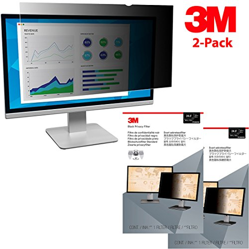 3M 2-Pack Privacy Filter for 24'' Widescreen Monitor (16:10) (PF240W1B) by Beach Camera