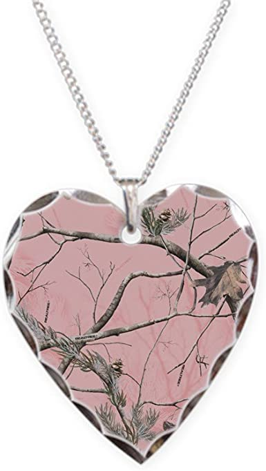 CafePress Cardinal In Snowy Tree Charm Necklace with Heart Pendant