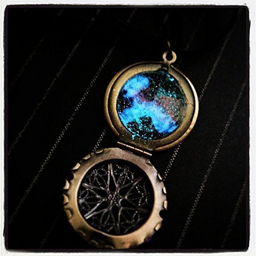 Brass Caged Window Locket with Glow In the Dark Galaxy and Nebula on Black Ribbon and Cord Necklace -