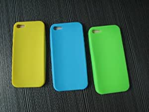 Mocase 3pcs Soft Silicone Apple Iphone 5 Case (Green, Yellow, Blue)