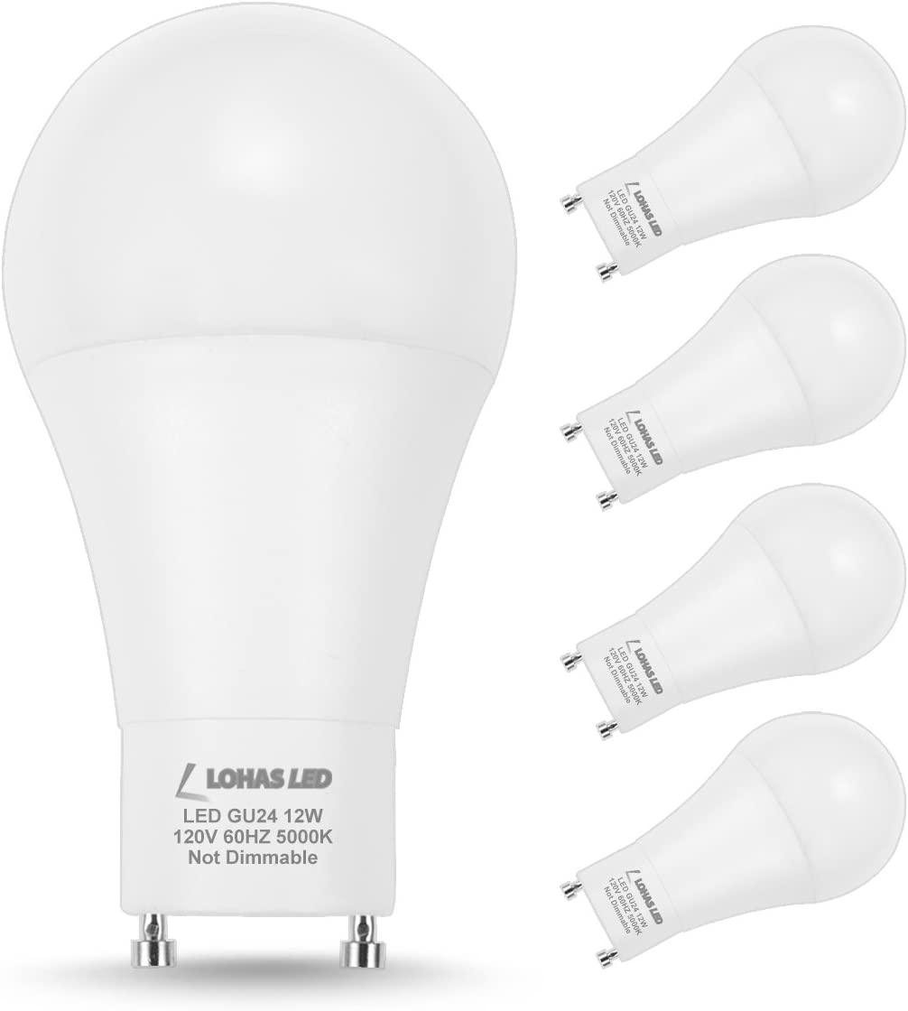 LOHAS GU24 Base Light Bulb, 1200Lumen Daylight 5000K LED Bulb 12Watt, 75W-100W Halogen Light Equivalent A19 Shape for Ceiling Fan, Twist Lock GU24 Base Bulb for Home Lighting, Non-Dimmable,4 Pack