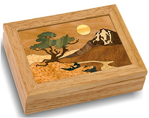 Marquetry Box (Wood Mountain Box - Handmade USA - Unmatched Quality - Unique, No Two are the Same - Original Work of Wood Art. A Mountain Tree Gift, Ring, Trinket or Wood Jewelry Box (#4102 Mountain 4x5x1.5))