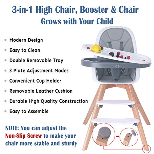 518pU%2Bu 22L - Baby High Chair With Double Removable Tray For Baby/Infants/Toddlers, 3-in-1 Wooden High Chair/Booster/Chair | Grows With Your Child | Adjustable Legs | Modern Wood Design | Easy To Assemble