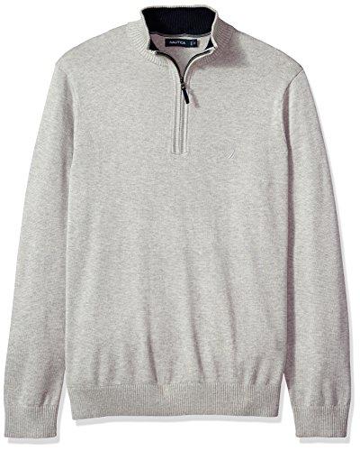 Nautica Men's Big Long Sleeve 1/4 Zip Solid Sweater with Suede Pull Detail, Grey Heather, 1XLT (Nautica 1/4 Zip Sweater)