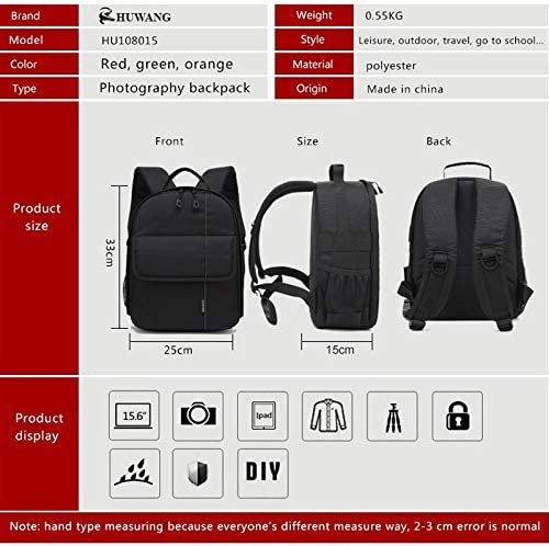 XIAOMIN Portable Waterproof Scratch-Proof Polyester Surface Material Dual Shoulders Backpack Outdoor Sports Camera Bag Premium Material Color : Green