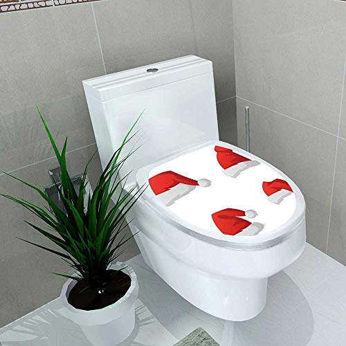 Toilet Seat Wall Stickers Paper Santa Hat Vector red Santa top Hat Isolated on White Background Decals DIY Decoration W13 x L18