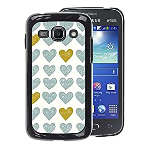 A-type Arte & diseño plástico duro Fundas Cover Cubre Hard Case Cover para Samsung Galaxy Ace 3 (Gold Teal White Uniform Pattern Love)