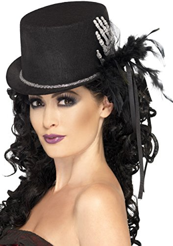 Halloween Hats - Smiffy's Women's Top Hat with Skeleton Hand, Black, One Size, 24971