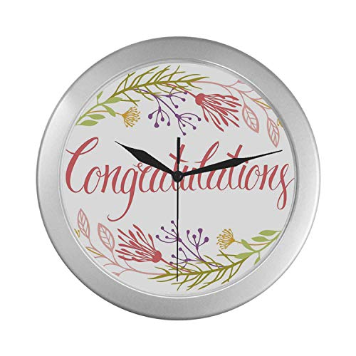 (C COABALLA Graduation Decor Simple Silver Color Wall Clock,Soft Spring Garden Flowers Herbs Twigs and Calligraphy Celebratory Message Decorative for Home Office,9.65